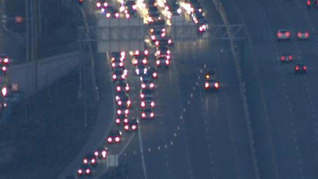 Skyzoom4 over Route 364 after all the lanes were closed Wednesday morning (Credit: KMOV)