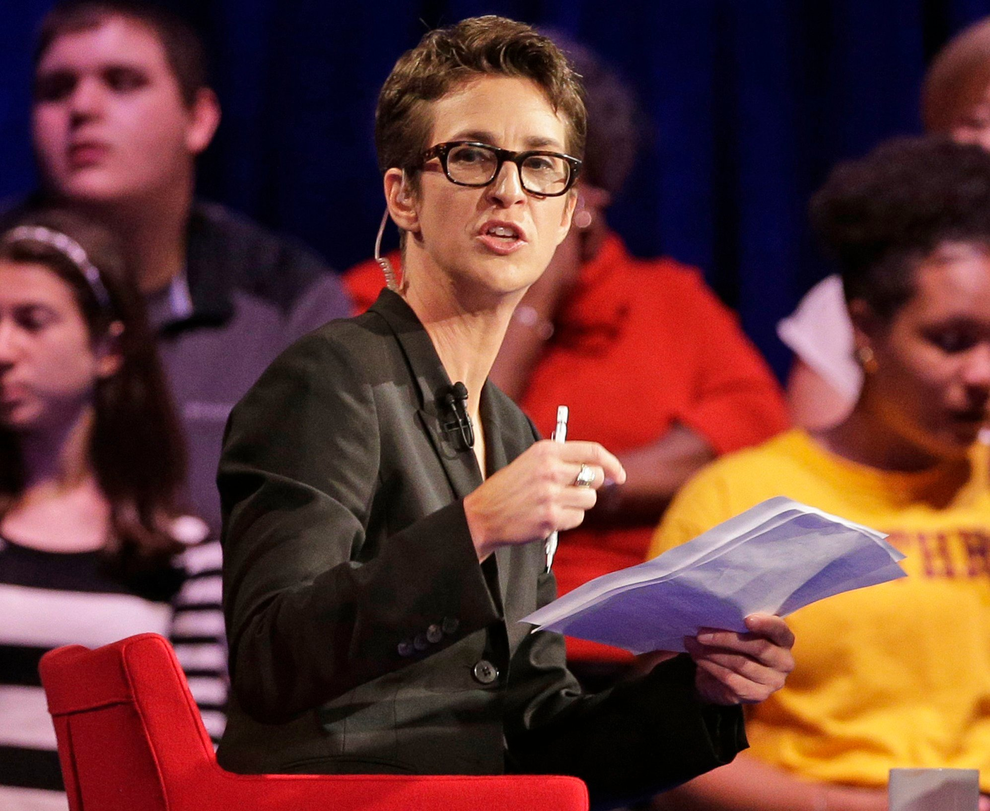 In this Friday, Nov. 6, 2015, file photo, MSNBC's Rachel Maddow speaks during a Democratic presidential candidate forum at Winthrop University in Rock Hill, S.C. Maddow is hosting a special televised town hall meeting from Flint, Mich. (AP Images)