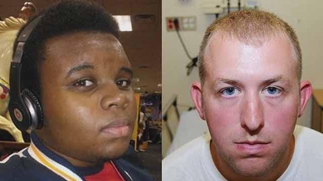 Darren Wilson (R) fatally shot Michael Brown (L) on August 9 , 2014. Credit: KMOV