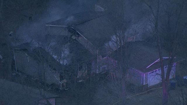 Skyzoom4 over fatal house fire in Glen Carbon on Dogwood Lane Thursday (Credit: KMOV)