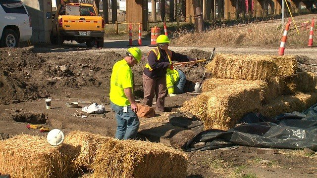 This site will soon be used as a staging area for heaving machinery, so archaeologists are eager to see what they can find. (Credit: KMOV)