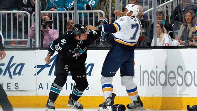 Micheal Haley #38 of the San Jose Sharks and Ryan Reaves #75 of the St. Louis Blues scuffle during a NHL game at SAP Center at San Jose on March 16, 2017 in San Jose, California. (Photo by Don Smith/NHLI via Getty Images)