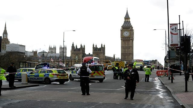 Police secure the area on the south side of Westminster Bridge close to the Houses of Parliament in London, Wednesday, March 22, 2017.  (Credit: AP Photo / Matt Dunham)