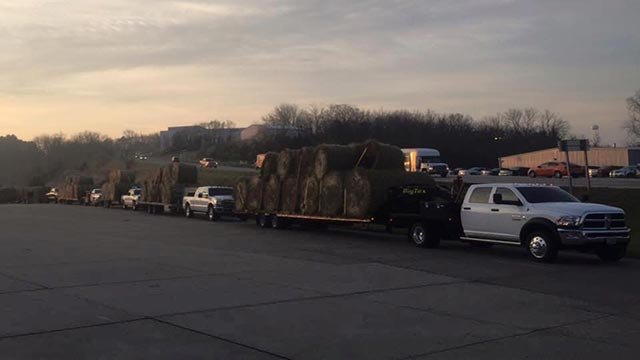 Truck pulling hale bales headed to Oklahoma (Credit: Nathan Snodgrass)