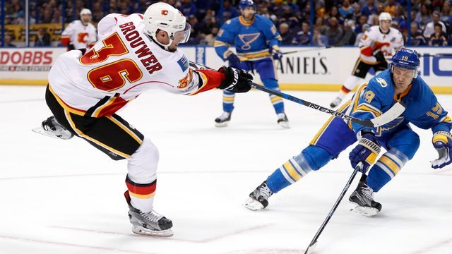 Calgary Flames' Troy Brouwer (36) shoots and scores past St. Louis Blues' Jay Bouwmeester during the first period of an NHL hockey game, Saturday, March 25, 2017, in St. Louis. (AP Photo/Jeff Roberson)