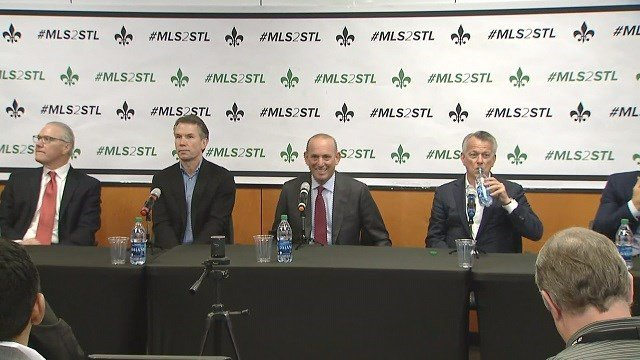 MLS Commissioner Don Garber visited St. Louis on Monday ahead of the April 4 election. (Credit: KMOV)