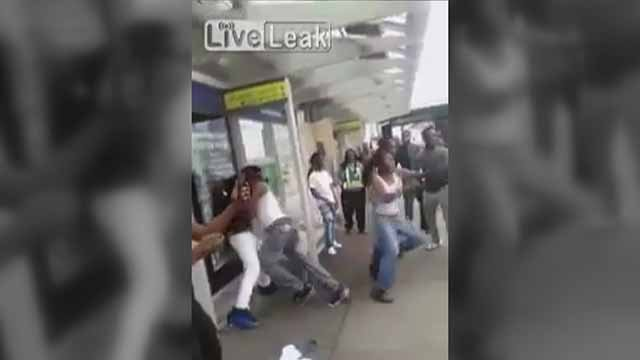 This fight was allegedly recorded at the DeBaliviere MetroLink station. Credit: KMOV