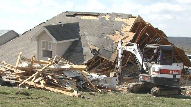 The aftermath of a house following the 2017 Perryville tornado. (Credit: KMOV)