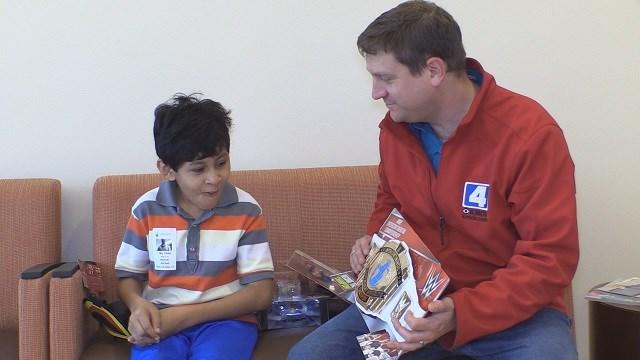 Danillo shows appreciation for wrestling gifts from KMOV's suprise squad.(Credit: KMOV)