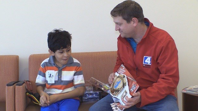 Danillo shows appreciation for wrestling gifts from KMOV's suprise squad.(Credit: KMOV)