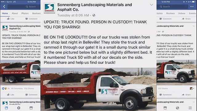 A suspect stole this truck that belongs to Sonnenberg Landscaping in Belleville. Credit: KMOV