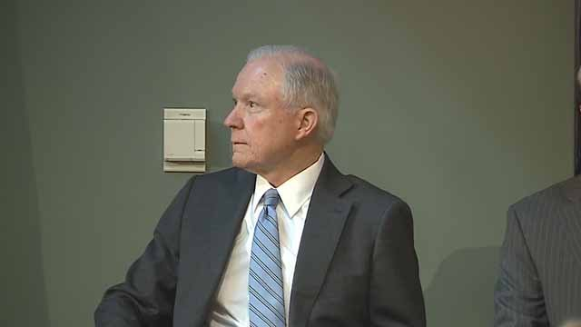U.S. Attorney General Jeff Sessions in St. Louis on Friday. Credit: KMOV