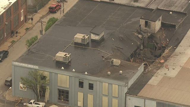 A damaged building in the area of 3rd Street and Russell (Credit: KMOV)