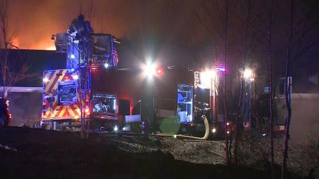 Fire crews battling a blaze at a building near I-270 and Tesson Ferry Wednesday (Credit: KMOV)