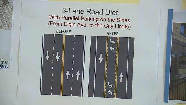 """St. Louis County is testing the waters for lane reductions on Gravois Road in an effort to create a more """"Main Street-like"""" feel. (Credit: KMOV)"""