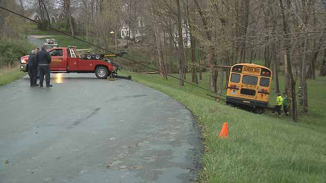 4 children were on a bus that rolled into an embankment in O'Fallon, Mo. Wednesday. Credit: KMOV