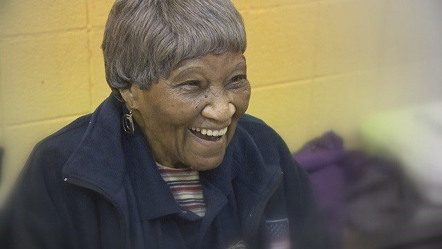 Helen Mensey celebrates her 98th birthday working the polls for Election Day. (Credit: KMOV)
