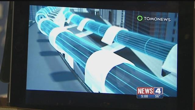 Computer images of a Hyperloop, a proposed transport that could take someone from Kansas City to St. Louis in 23 minutes. Credit: KMOV