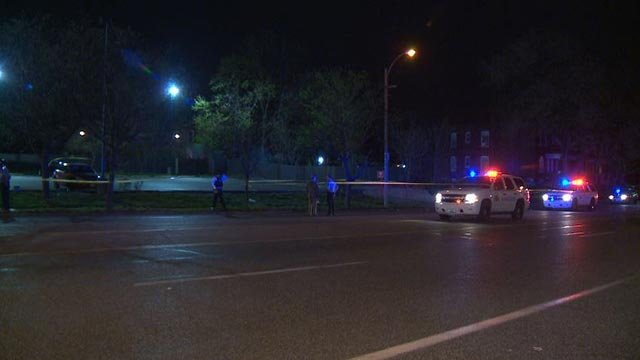 The scene in the 3500 block of Natural Bridge Sunday night after a person was struck by a vehicle (Credit: KMOV)