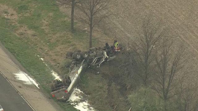 A tanker truck overturned in Madison County Monday morning (Credit: KMOV)