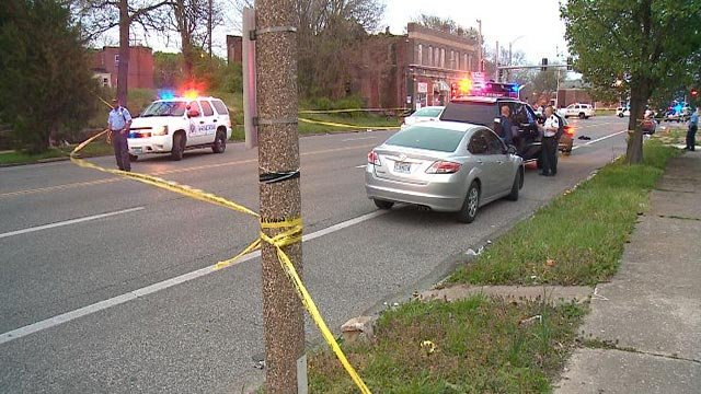 The scene at Page Boulevard and Taylor Avenue following an officer-involved shooting Saturday (Credit: KMOV)