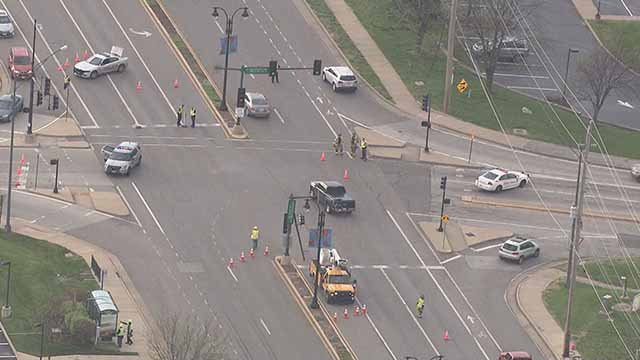 Downed power lines have closed lanes of Olive near Ross in Creve Coeur. Credit: KMOV