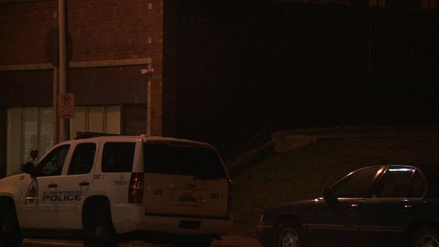 Police vehicle seen outside a building in the 6800 block of Michigan Tuesday (Credit: KMOV)