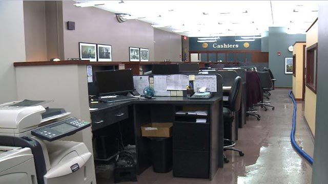 Inside a St. Louis City office after a pipe burst Tuesday (Credit: KMOV)