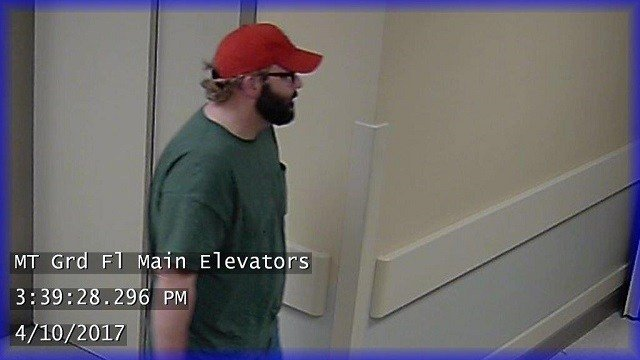 The suspect, a male wearing a Cardinals hat with a beard, was seen on the campus of Missouri Baptist Medical Center on Monday afternoon. (Credit: Town and Country Police)