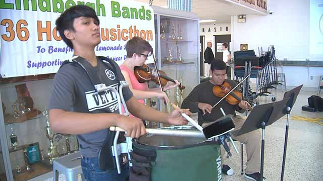 Lindbergh students performed 36-hour 'Music-Thon' for cancer research. Credit: KMOV