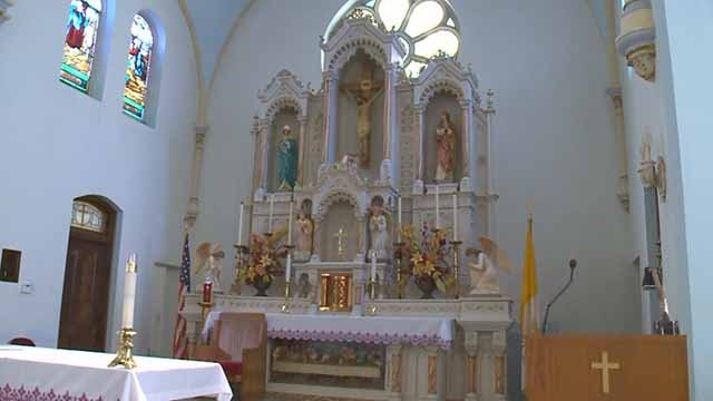 Plans for the altar at St. Michael the Archangel Catholic Church have divided parishioners. Credit: KMOV