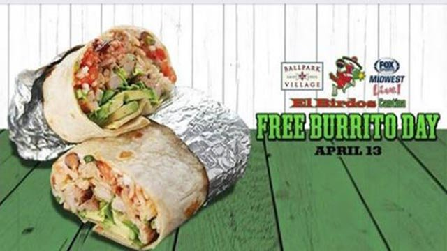 Free Burrito Day at Ballpark Village Thursday (Credit: Fox Sports Midwest Live / Facebook)