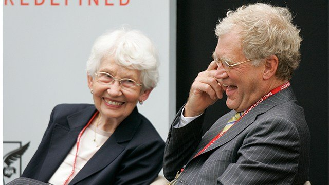 "In this Sept. 7, 2007, file photo, David Letterman, right, the host of ""The Late Show with David Letterman"" on CBS, and his mother Dorothy Mengering share a laugh... (AP Photo/Michael Conroy, File)"