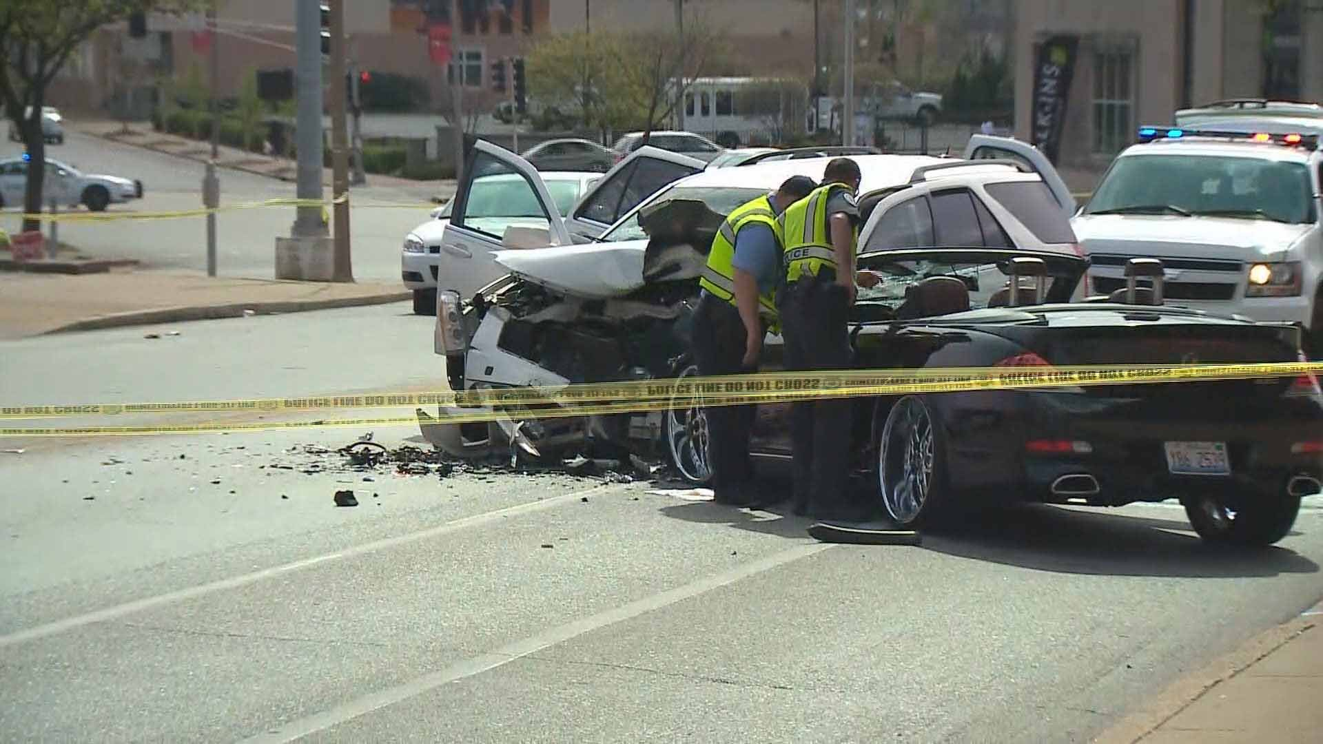 Two people were injured and one was arrested after a crash near Grand and Emily in north St. Louis Thursday. Credit: KMOV