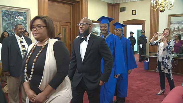 Cedric Deshay and Jeavon Gill were granted diplomas as part of the city's  Work-Force High Program. Credit: KMOV