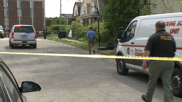 Hillsdale Police and St. Louis County Police on scene of a homicide Friday afternoon (KMOV)