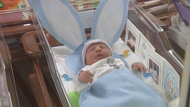 St. Luke's Hospital celebrate Easter by decorating newborns in baby bunties. (Credit: KMOV)