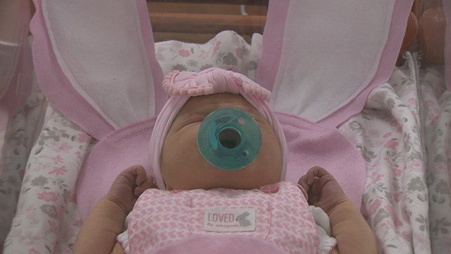 St. Luke's Hospital followed their annual Easter tradition by dressing up newborns in bunny buntings. (Credit: KMOV)