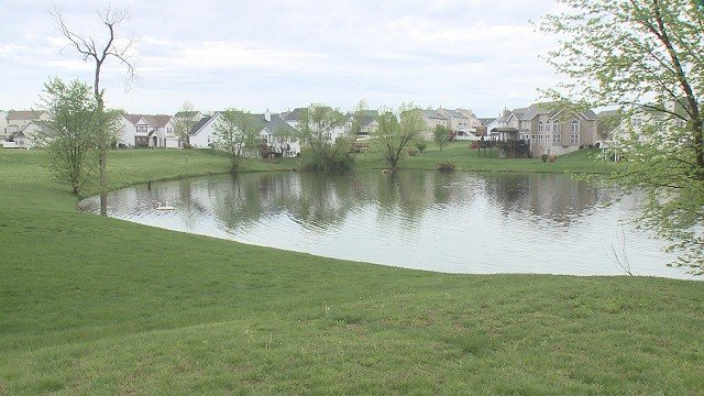 The lake where human remains were found. (Credit: KMOV)