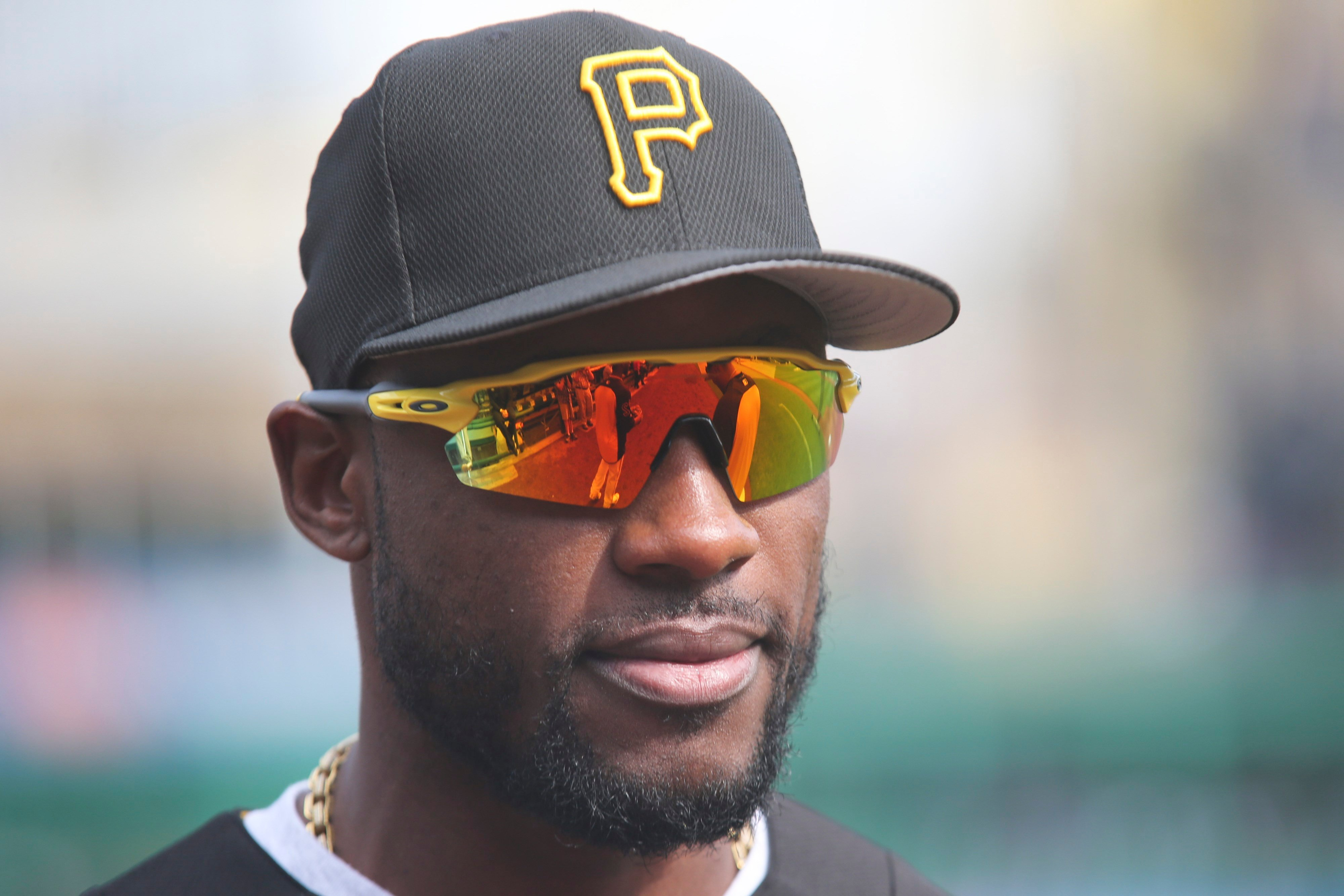 Pittsburgh Pirates center fielder Starling Marte before a baseball game against the Cincinnati Reds, Monday, April 10, 2017, in Pittsburgh. (AP Photo/Keith Srakocic)