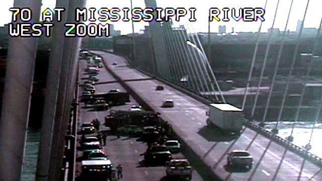 An accident has closed all lanes of EB I-70 on the Stan Musial Veterans Memorial Bridge. Credit: MoDOT