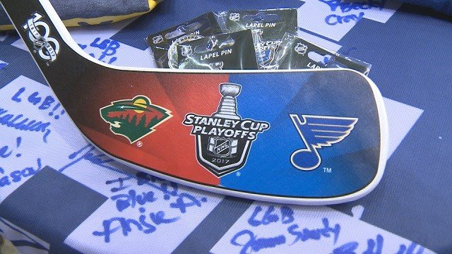 Fans can also buy special playoff lapel pins and a puck and stick set with the Blues and Wild logos. (Credit: KMOV)