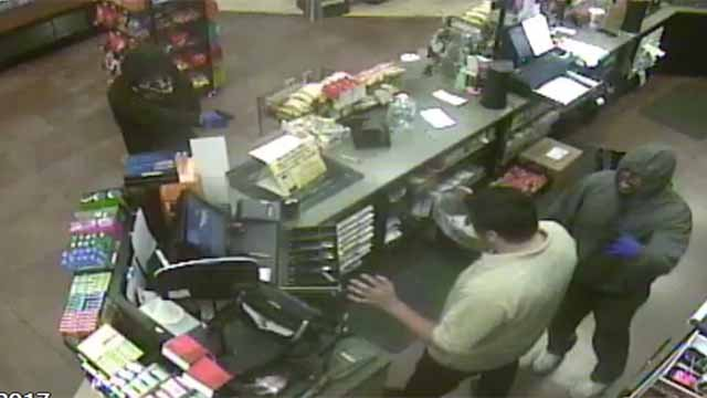 Police are searching for two suspect who robbed a convenience store in the 11100 block of Manchester  Thursday. Credit: Kirkwood PD