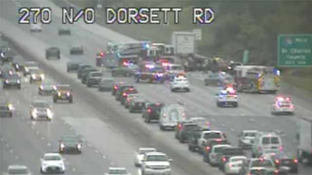 1 person died in an accident on I-270 near Dorsett in Maryland Heights Friday. Credit: MoDOT