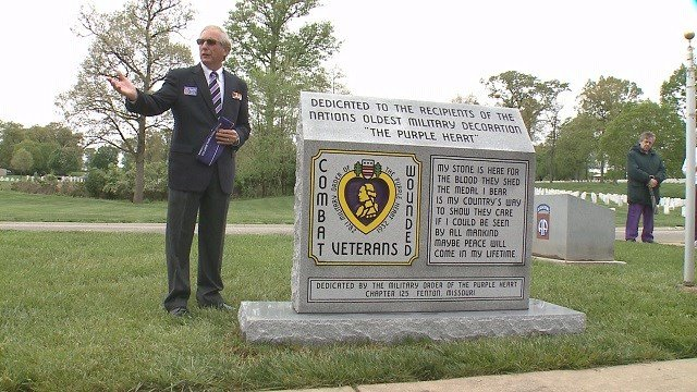 The monument dedicated to military service members who have received a Purple Heart (Credit: KMOV)