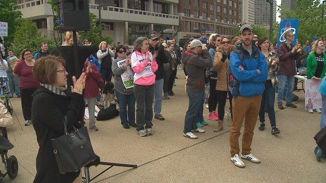 People gather for the March for Science in downtown St. Louis. (Credit: KMOV)