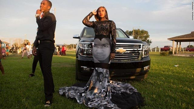 Milan Bolden-Morris wore a dress featuring pictures of Trayvon Martin, Sandra Bland, Michael Brown, and others to her high school prom. (Credit: Terrence Torrence)