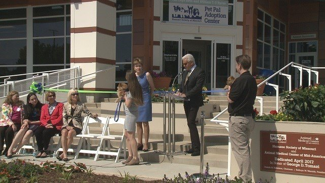 The Humane Society of Missouri celebrated the grand opening of its new adoption center. (Credit: KMOV)