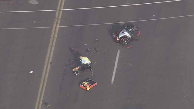 A motorcyclist was struck by a car and killed in midtown St. Louis.  Credit: KMOV