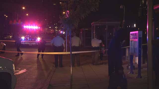 A male victim was shot near the Union Station MetroLink station Tuesday night. Credit: KMOV